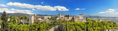 Panorama of the famous Alhambra palace in Granada, Andalusia, Spain.
