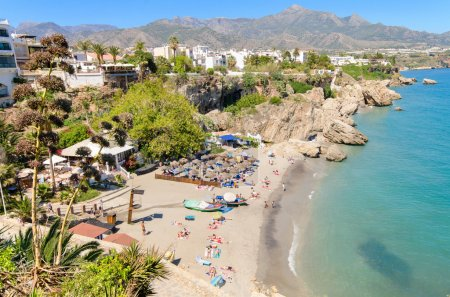 Nerja beach, famous touristic town in costa del sol, Malaga, Andalusia, Spain.