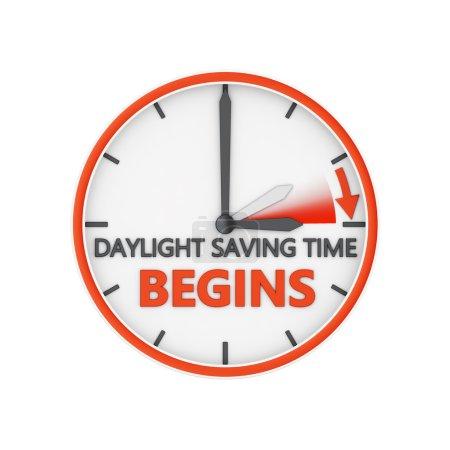 Photo pour Changement d'heure à l'heure d'été sur fond blanc - image libre de droit
