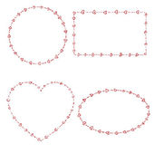 4 heart shaped beads frames