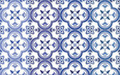 Traditional ornate portuguese tiles azulejos Vector illustration 4 color variations in blue