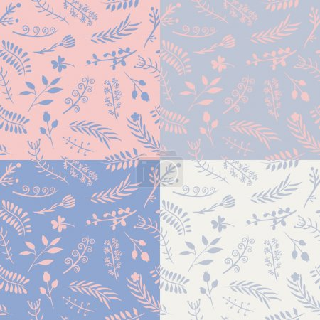 Set of 4 floral vector seamless patterns.