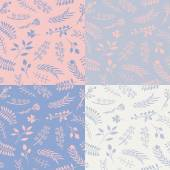 Set of 4 floral vector seamless patterns