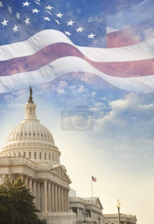 United States Capitol building with American flag superimposed o
