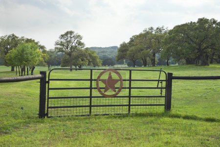 Ranch gate with pasture and trees in the Texas Hill Country