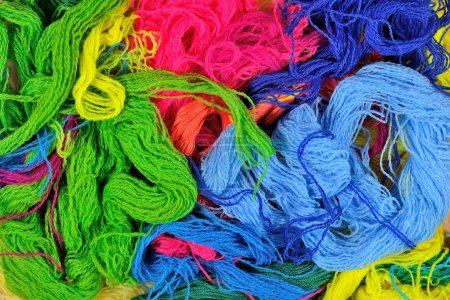 Multicolored acrylic yarn background