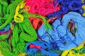 Multicolored acrylic yarn background