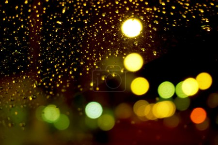 Driving in the rainy night, defocused