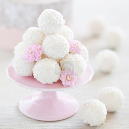 Photo for Coconut white chocolate truffles, selective focus - Royalty Free Image