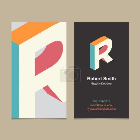 """Lettre d'alphabet de logo """"R"""", avec modèle de carte de visite ."""