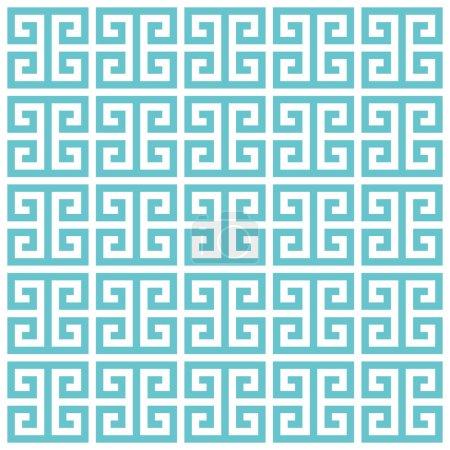 Greek key pattern background. Vector background blue green