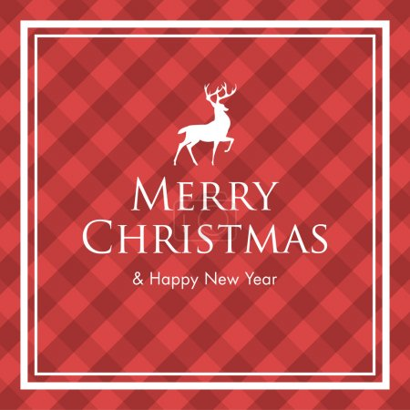 Christmas card with deer, logo title and gingham pattern background