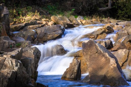 Beautiful Landscape,fast mountain stream with rock,