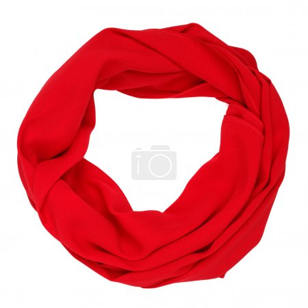 Silk scarf. Red silk scarf isolated on white background
