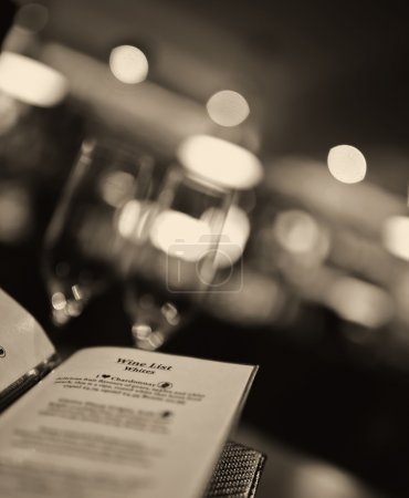 romantic shot of a wine menu