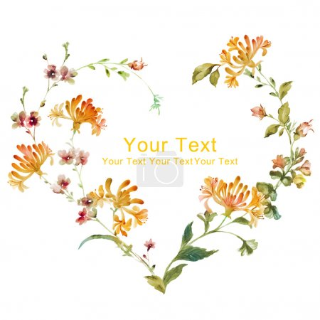 Photo for Watercolor floral illustration collection. flowers arranged in a shape of the wreath perfect - Royalty Free Image