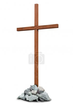 Wooden cross with pile of stones isolated on white
