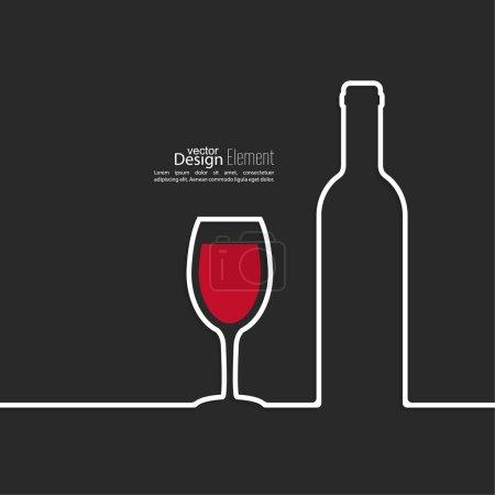 Illustration pour Ruban en forme de verre à vin avec ombre et espace pour le texte. flat design.banners, modèle de mise en page graphique ou site web, étiquette. rouge. Autocollant sur une bouteille de vin - image libre de droit