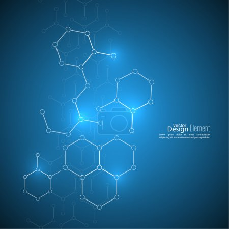 Illustration for Abstract background with DNA molecule structure. genetic and chemical compounds - Royalty Free Image