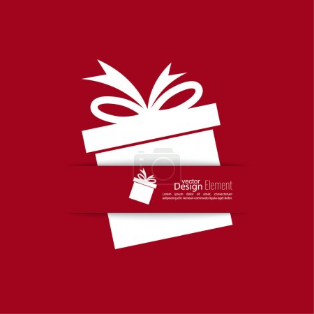 Ilustración de Ribbon in the form of gift  with shadow and space for text. flat design.banners, graphic or website layout  template. red - Imagen libre de derechos