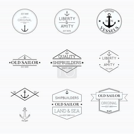 Illustration pour Définir les étiquettes avec des rubans et des étiquettes. liberté et amitié, navires, bannière avec un tatouage d'ancre, constructeurs navals - image libre de droit
