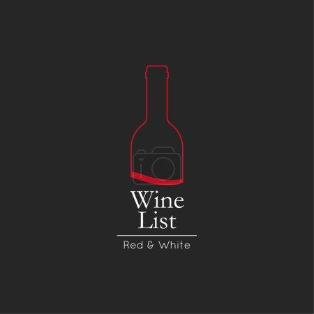 Illustration pour Carte des vins Modèle de conception de carte de menu. badge et étiquette de vin. bouteille de vin verre design menu fond . - image libre de droit