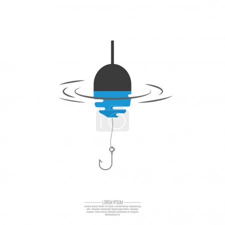 Illustration for Float, fishing line and hook. Logo symbol with reflection in the water. The concept of the trap, bait. - Royalty Free Image