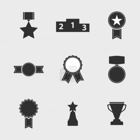Set of vector icons of different awards