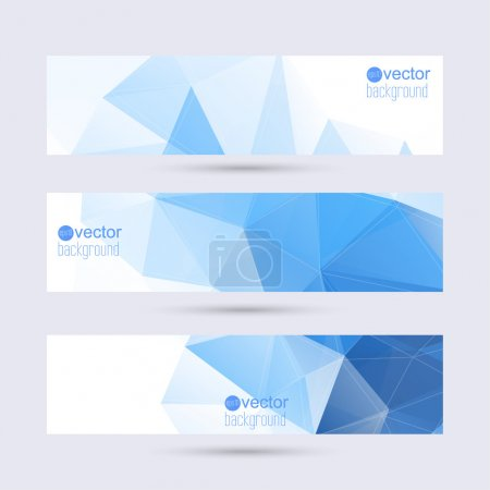 Illustration for Set of vector banners with triangles and polygon mesh. For websites, internet, paper stickers, labels, background for your mobile phone - Royalty Free Image