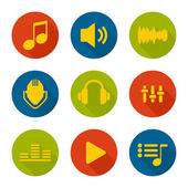 Set of vector icons music for app flat design Long Shadow