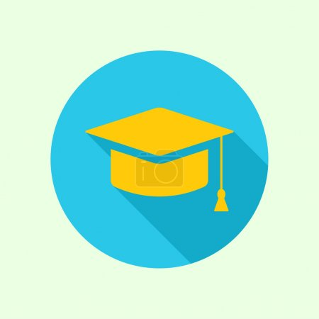 Illustration for Vector icon of mortarboard or graduation cap. concept of knowledge and education. completion of learning and research for a doctoral degree. flat design with long shadow - Royalty Free Image