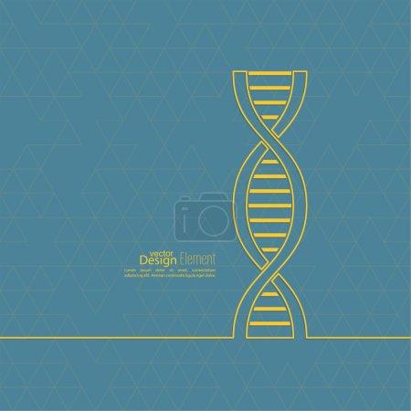 Illustration pour Fond abstrait avec la structure de molécule de brin d'ADN et triangles. composés génétiques et chimiques . - image libre de droit