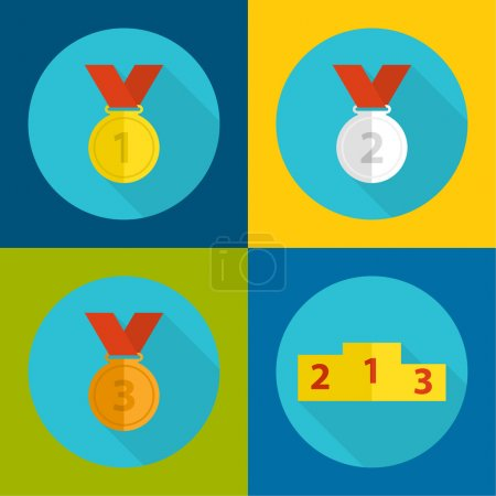 Illustration for Gold, bronze, silver medal with red ribbon, podium. a flat design with a long shadow.first, second and third prize,  the highest award accomplishment 1st winner - Royalty Free Image