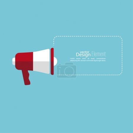 Illustration for Megaphone, loudspeaker with bubbles speech and copy space . for social media marketing concept. Notification through the speaker, advertisement bullhorn. - Royalty Free Image