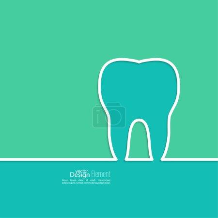 Illustration pour Contexte avec contour des dents. Symbole pour clinique dentaire. bleu, vert. Logo, dentiste emblème - image libre de droit