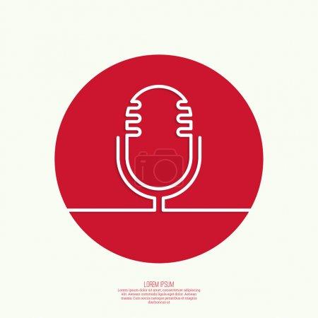 Illustration pour Icône Web avec un vieux microphone. Notification, publicité, rédaction et messages importants. Diffusion radio. À l'antenne. Grandes lignes - image libre de droit