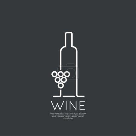 Illustration pour Bouteille de vin avec un verre de vin. Icône, symbole, logo alcool. Pour le menu, bar, restaurant, carte des vins. minimes. Grandes lignes - image libre de droit