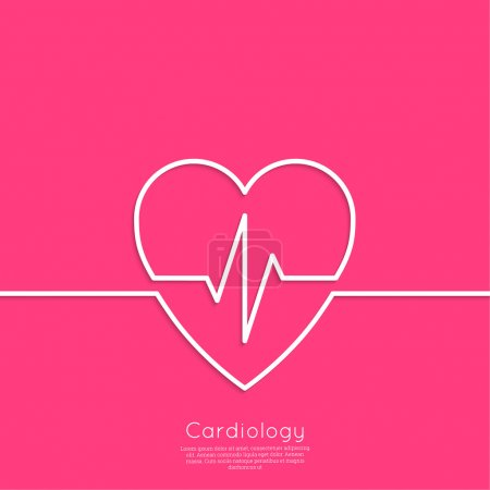 Illustration for Cardiogram with heart. Logo Cardiology Medical Center. Outline. minimal. red - Royalty Free Image