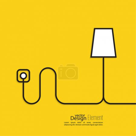 Illustration for Floor lamp wire connected to a power outlet. Electric light creates homeliness. Yellow abstract background. minimal. Outline - Royalty Free Image