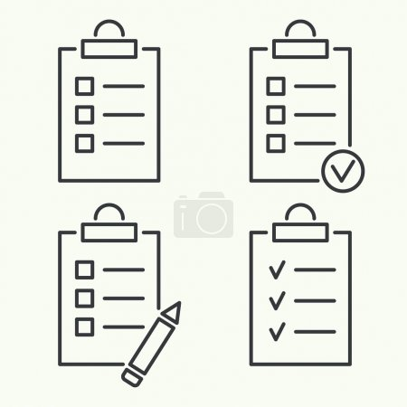 Illustration for Set vector icons. clipboard with to do list and pencil. Lines with check boxes. checklist for note. consent. check mark. election and voting. outline. minimal - Royalty Free Image