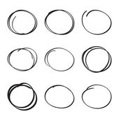 Set hand drawn ovals felt-tip pen circles