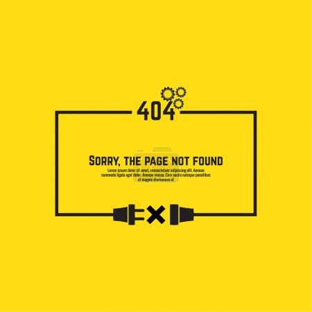 Illustration pour Erreur de connexion 404. Fond abstrait avec fiche et prise de courant. Désolé, page introuvable. vecteur - image libre de droit