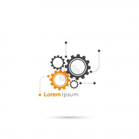 Illustration pour Symbole des engrenages. Concept de mouvement et de mécanique, de raccordement et de travail d'ingénierie d'exploitation. vecteur. minimes. Logo - image libre de droit