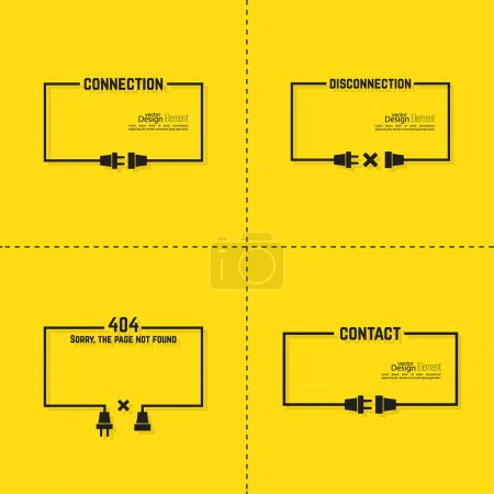 Illustration for Set Abstract backgrounds with wire plug and socket. Concept connection, connection, disconnection, electricity. Flat design. Yellow, black. Speech Bubble. 404 connection error - Royalty Free Image
