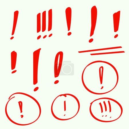 Set hand drawn Exclamation mark.