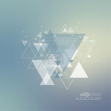Illustration for Abstract blurred background with hipster stream flying triangles debris. Triangle pattern background. For cover book, brochure, flyer, poster, magazine, cd cover design, t-shirt. Vector design - Royalty Free Image