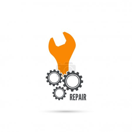 Illustration for Wrench and gear icon. Mechanic service and mechanics, connection and operation engineering design work - Royalty Free Image