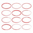 Set hand drawn ovals, felt-tip pen circles. Underl...