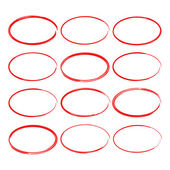 Set hand drawn ovals felt-tip pen circles Underlining note highlight important information Rough frame elements