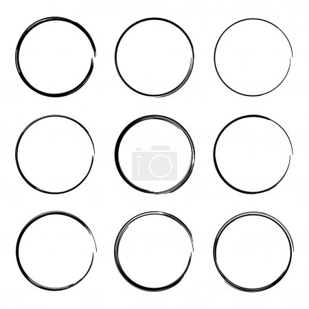 Set hand drawn ovals